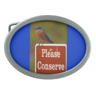 Bluebird, Please Conserve Oval Belt Buckle