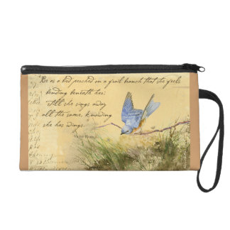 Bluebird Poem Wristlet Purse