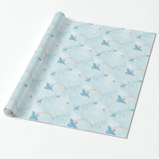 Bluebird Rainbow -Blue Clouds Wrapping Paper