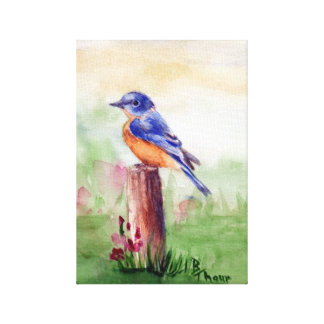 Bluebird Song Wrapped Canvas Print