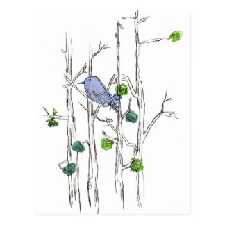 Bluebird Trees Pen and Ink Drawing Nature Art Postcard