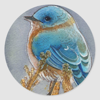 Bluebird Watercolor Round Stickers