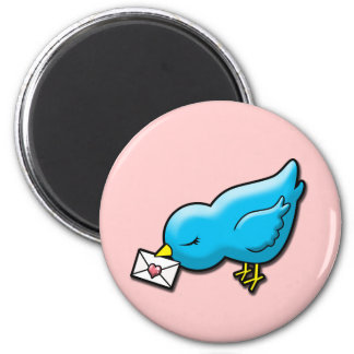 Bluebird with love letter 2 inch round magnet