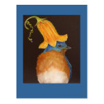 bluebird with squash blossom hat postcard