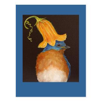 bluebird with squash blossom hat postcard