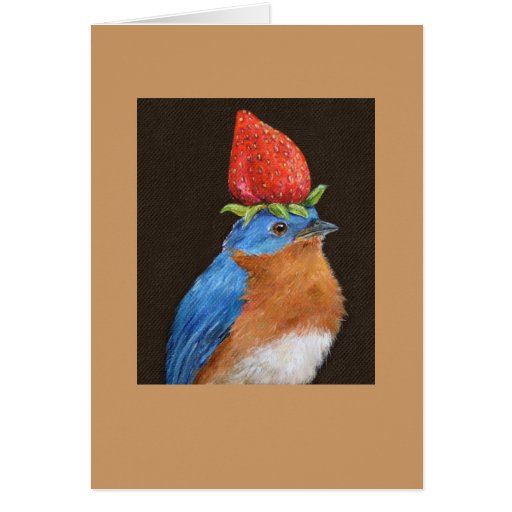 bluebird with strawberry card