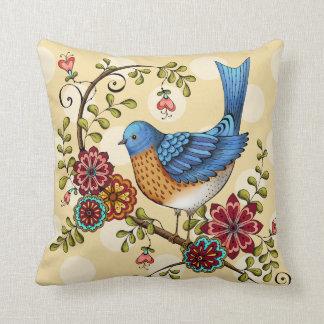 Bluebird with Yellow Polka Dots- Throw Pillow