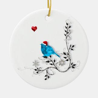 ¡Bluebird y corazón! Adorno Navideño Redondo De Cerámica