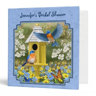 Bluebirds and Hexagon Birdhouse Blue Binder