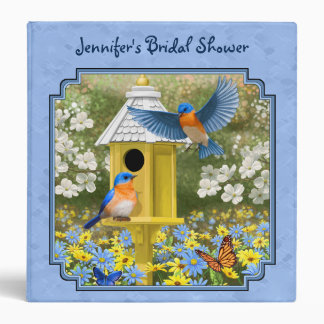 Bluebirds and Hexagon Birdhouse Blue Binder