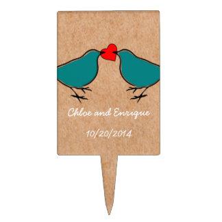 Bluebirds and Love Heart Wedding Cake Topper