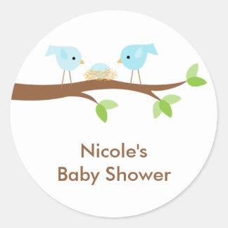 Bluebirds and Nest Stickers Round Sticker
