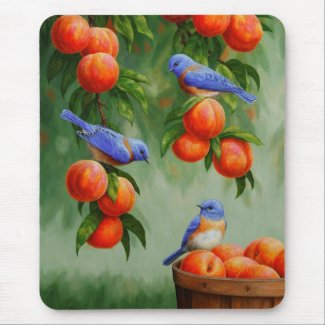 Bluebirds and Peaches Mouse Pad