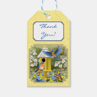 Bluebirds and Round Birdhouse Yellow Gift Tags