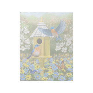 Bluebirds and Tall Yellow Birdhouse Notepad