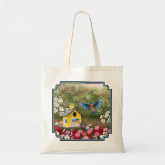 Bluebirds and Yellow School Birdhouse Tote Bag