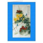 Bluebirds antiguos de la pintura china tarjeta de felicitación