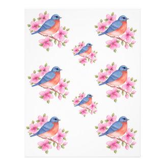 Bluebirds de papel del libro de recuerdos membrete personalizado