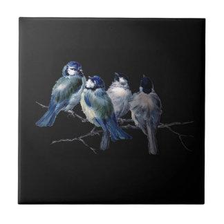 bluebirds del arte del vintage en rama azulejo cuadrado pequeño