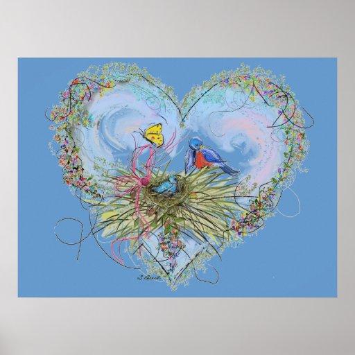 Bluebirds del poster de la felicidad