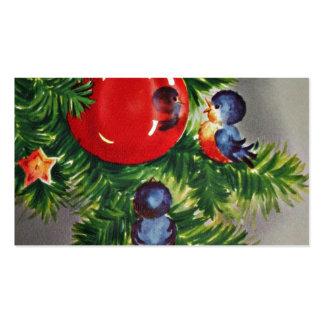 Bluebirds en el árbol de navidad tarjetas de visita