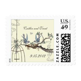 Bluebirds en el franqueo poner crema del boda