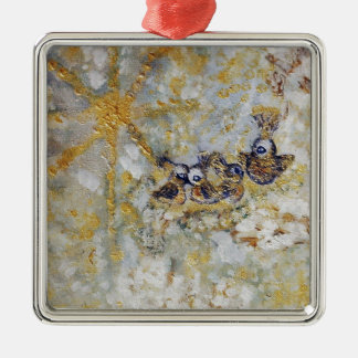 Bluebirds en la colección del regalo del arte de adorno navideño cuadrado de metal
