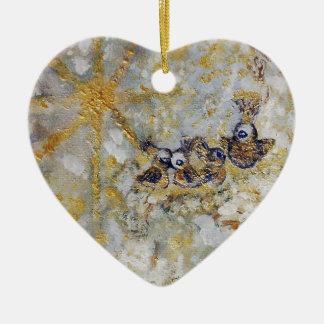 Bluebirds en la colección del regalo del arte de adorno navideño de cerámica en forma de corazón