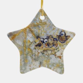 Bluebirds en la colección del regalo del arte de adorno navideño de cerámica en forma de estrella
