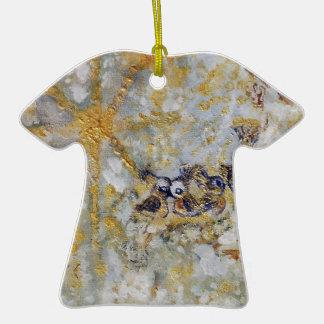 Bluebirds en la colección del regalo del arte de adorno navideño de cerámica en forma de playera