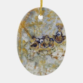 Bluebirds en la colección del regalo del arte de adorno navideño ovalado de cerámica