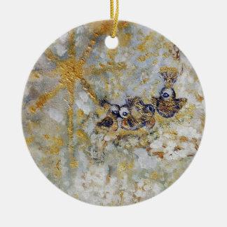 Bluebirds en la colección del regalo del arte de adorno navideño redondo de cerámica