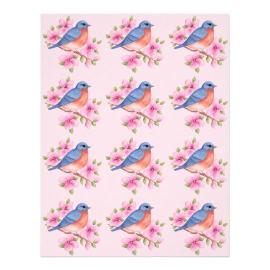 Bluebirds en un papel rosado del libro de membrete personalizado