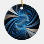 Bluebirds Fractal Double-Sided Ceramic Round Christmas Ornament