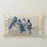 Bluebirds French Postcards Pillow