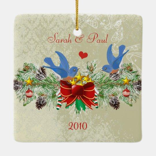 Bluebirds Garland Pinecones Christmas & Photo Ceramic Ornament