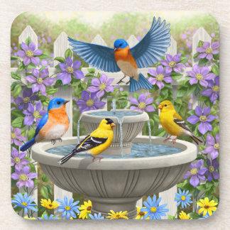 Bluebirds Goldfinches and Fountain Birdbath Drink Coaster