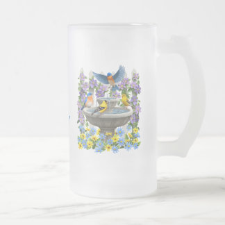 Bluebirds Goldfinches and Fountain Birdbath Frosted Glass Beer Mug
