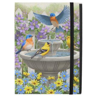 "Bluebirds Goldfinches and Fountain Birdbath iPad Pro 12.9"" Case"
