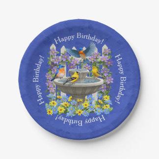 Bluebirds Goldfinches and Fountain Birdbath 7 Inch Paper Plate