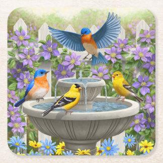 Bluebirds Goldfinches and Fountain Birdbath Square Paper Coaster