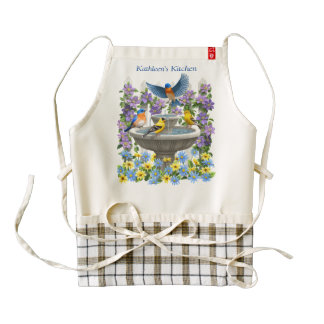 Bluebirds Goldfinches and Fountain Birdbath Zazzle HEART Apron