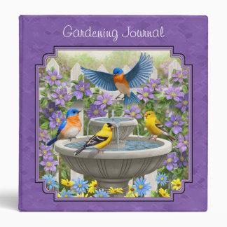 Bluebirds Goldfinches Flower Garden Bath Purple 3 Ring Binder