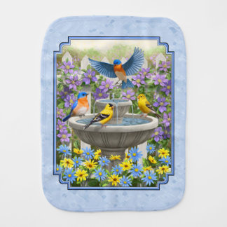 Bluebirds Goldfinches Flower Garden Fountain Blue Baby Burp Cloth