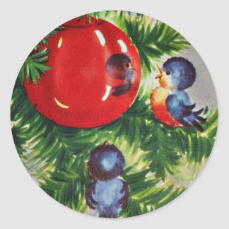 Bluebirds in a Christmas Tree Classic Round Sticker