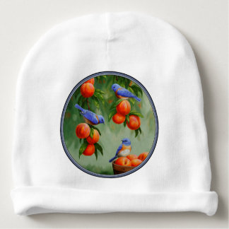 Bluebirds in a Peach Tree Orchard Baby Beanie