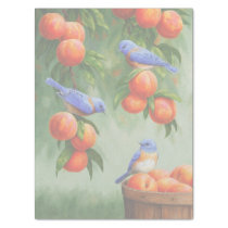 Bluebirds in a Peach Tree Orchard Tissue Paper