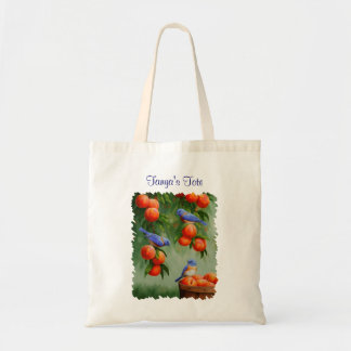 Bluebirds in a Peach Tree Orchard Tote Bag