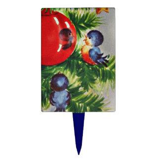 Bluebirds in Christmastree Cake Topper