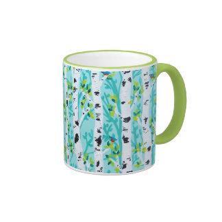 Bluebirds in Spring Birch Tree Forest Ringer Coffee Mug
